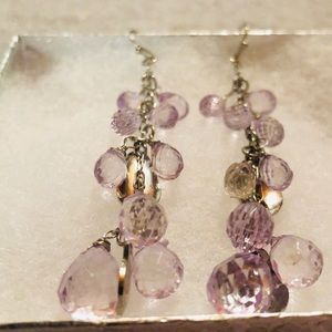 Jewelry - Pair of silver and purple beaded earrings